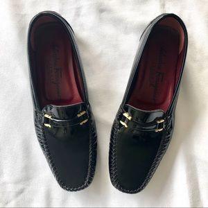 Salvatore Ferragamo Black Patent Loafers
